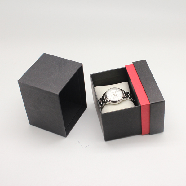 Fashion luxury black and red paper watch box with pillow