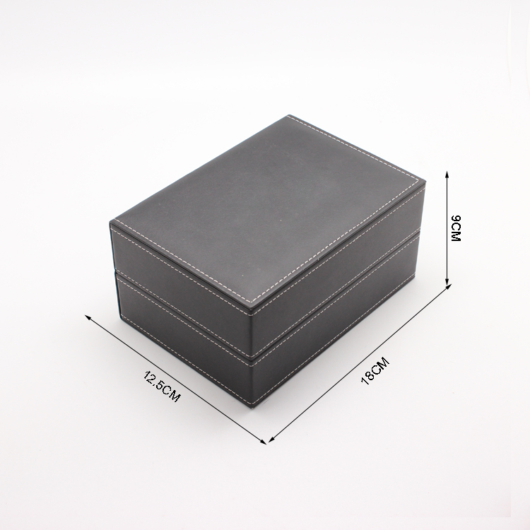 luxury Black leather watch box for three watches