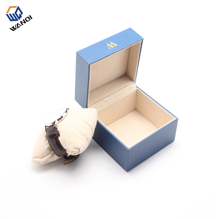 Fashion Mini blue paper watch box with velvet pillow
