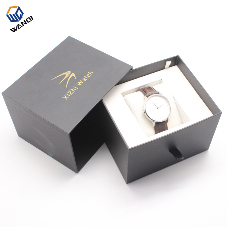 High quality New black design paper watch box with PU pillow