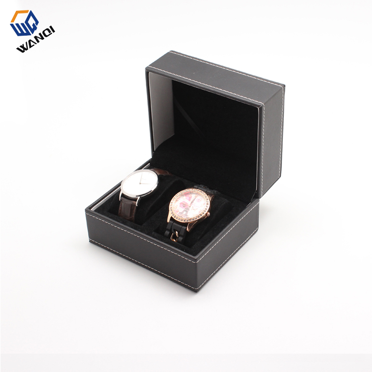 Black leather watch box for tow watches with stiching