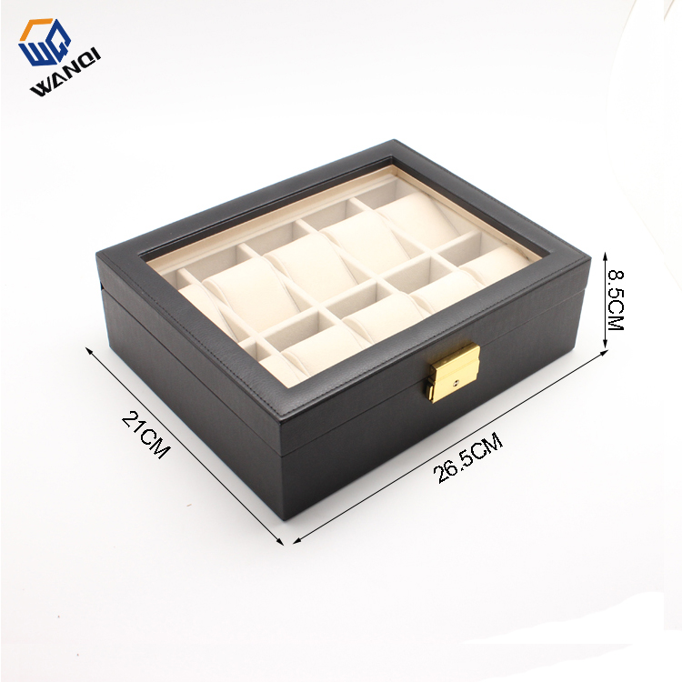 Black leather custom braned watch box for 10 watch