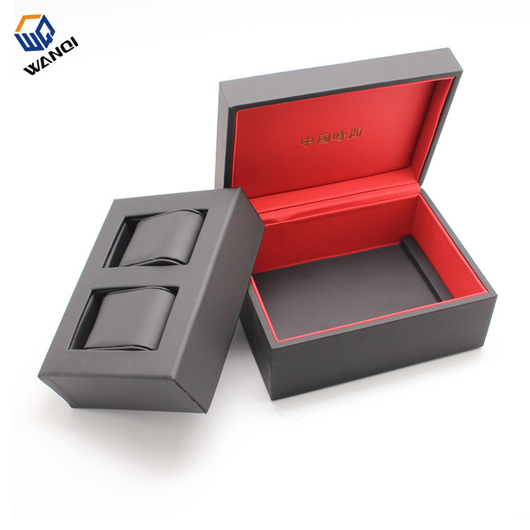 Fashion luxury black and red leather watch box for tow watches