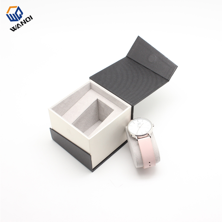 New design cheap black men paper watch box with hot stamping logo