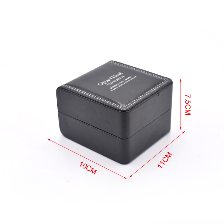 Mini Branded black women pu leather watch box with sitiching