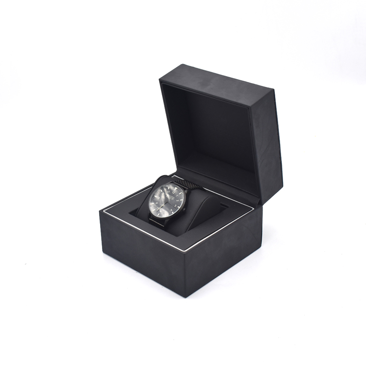 Luxury design branded man black leather pu watch gift box