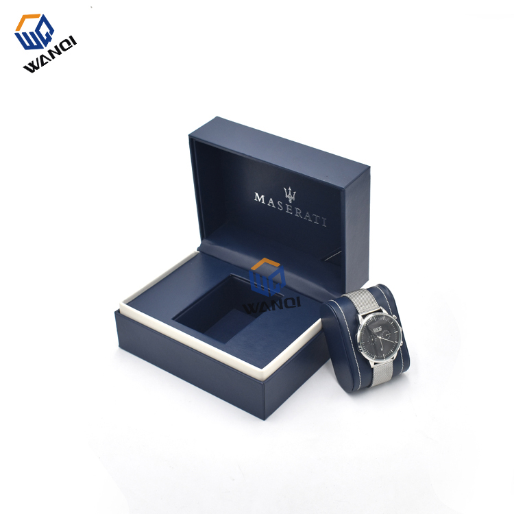 OEM factory luxury design big fashion blue pu leather watch gift box