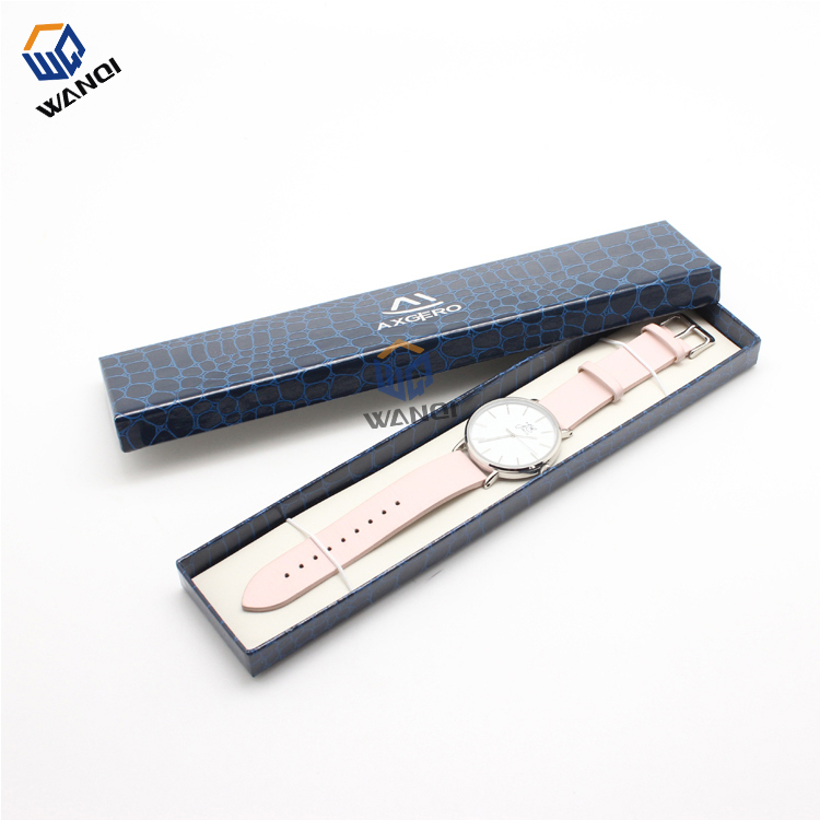 Paper long blue women watch box with hot stamping logo