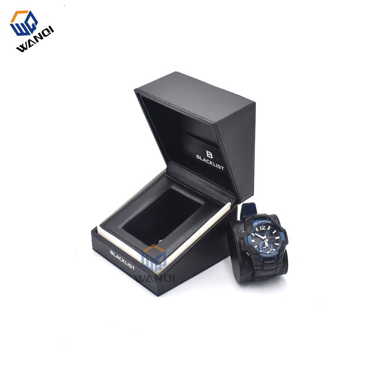 Black leather fashion luxury watch box with logo