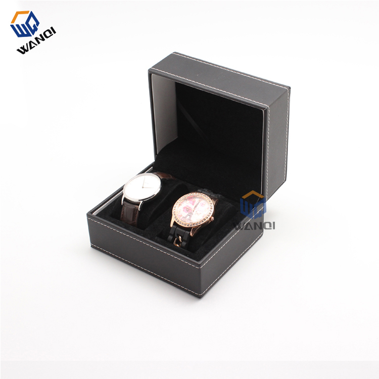 Black leather double ​watch box for women and men